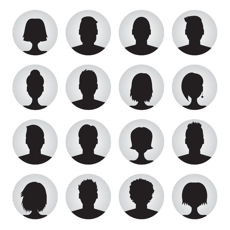vector set of user profile illustrations, icons. Man and woman. Male and female avatar profile picture set Ilustração
