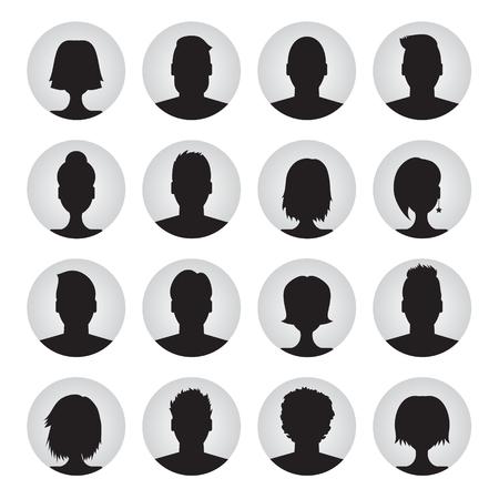 vector set van gebruikersprofiel illustraties, pictogrammen. Man en vrouw. Mannelijke en vrouwelijke avatar profielfoto instellen