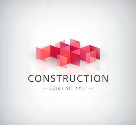 architecture and buildings: Vector abstract geometric red logo, icon. creating concept
