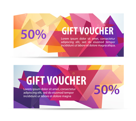 cash: Vector set of colorful gift faceted vouchers, coupons isolated