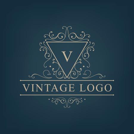Vector luxe, koninklijk monogram logo, pictogram geïsoleerd. Vintage, retro rijk barok teken, bedrijf branding Stock Illustratie
