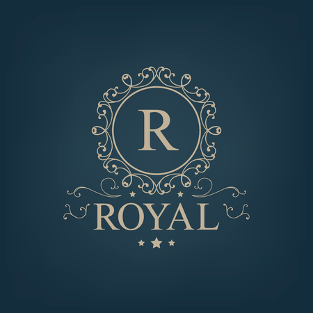Vector luxury, royal monogram logo, icon isolated. Vintage, retro rich baroque sign, company branding 版權商用圖片 - 47401414