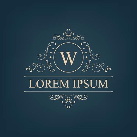 Vecteur de luxe, logo monogramme royal, icône isolé. Vintage, signe baroque riche et rétro, marque de la société