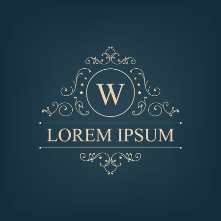 Vector luxury, royal monogram logo, icon isolated. Vintage, retro rich baroque sign, company branding Stock fotó - 47401415