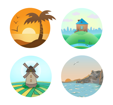hollidays: Vector set of landscape illustrations in circles