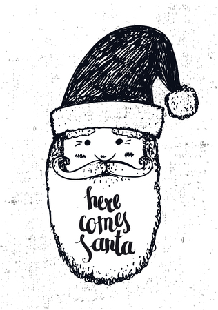 old man portrait: Vector hand drawn christmas illustration with lettering. Card, poster, banner. Here comes Santa
