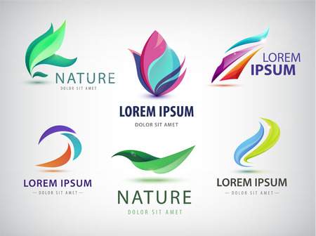 natural health: Vector set of abstract wavy, spa, salon icons isolated. Identity