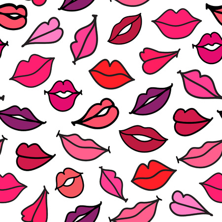 lipstick kiss mark: Vector seamless kisses, cartoon hand drawn lips pattern, background Illustration