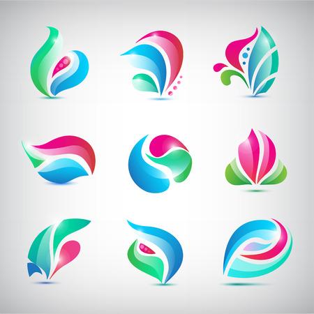 abstract logos: Vector set of colorful abstract spa logos Illustration