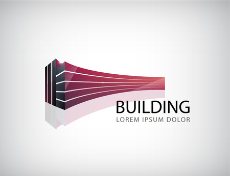 Vector horizontal red 3d building, office logo, icon isolated. Identity