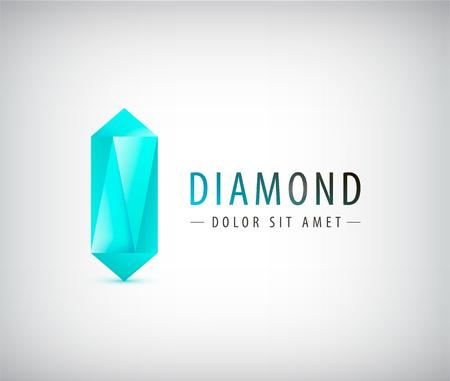 分離の図、3 d ダイヤモンド結晶ロゴをベクターします。