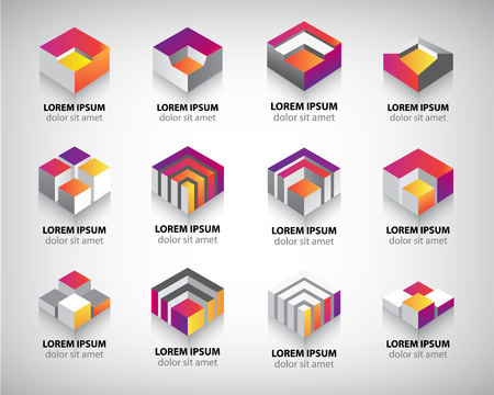 Vector set of colorful geometric 3d cube constructions, abstract logos, icons. Çizim