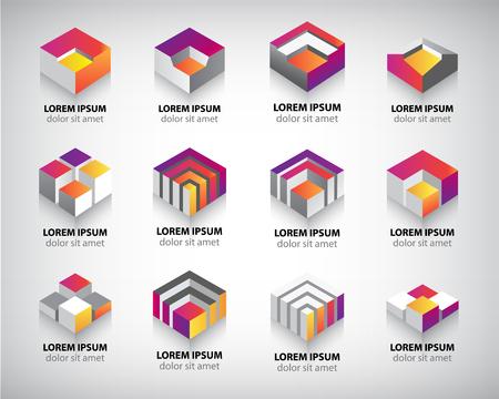 Vector set de couleurs géométriques constructions de cube en 3D, logos, icônes abstraites.