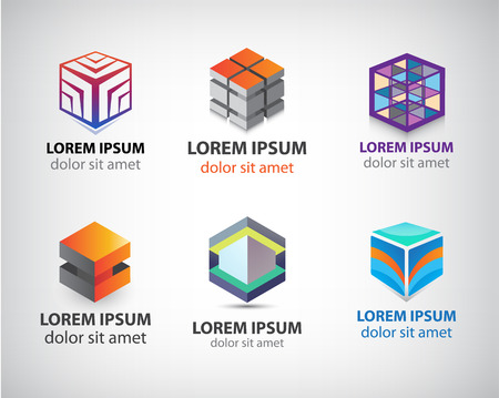 abstract logos: Vector set of colorful geometric 3d cube constructions, abstract logos, icons. Illustration