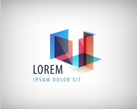 Vector abstract colorful geometric structure, abstract logo, icon isolated. Identity  イラスト・ベクター素材