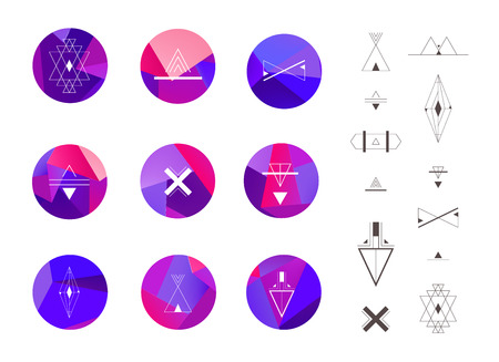 geometric shapes: Set of colored geometric crystal circles in polygon style with geometric shapes. Geometric hipster retro background and logotypes, logos. Illustration