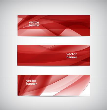 벡터 추상 물결 모양의 빨간색 배너 세트 스톡 콘텐츠 - 48740099