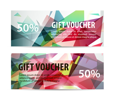 vouchers: Vector set of gift vouchers with colorful faceted background