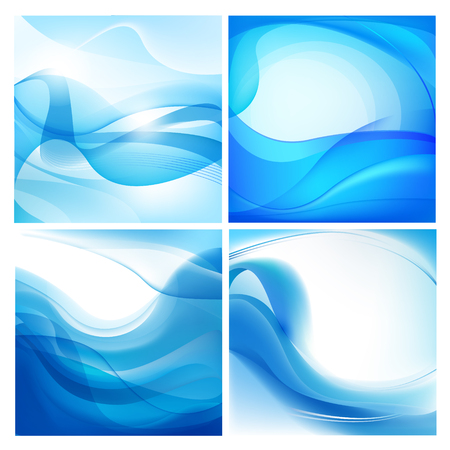 smooth background: Vector set of blue wavy backgrounds. Water flow, stream, abstract wallpaper