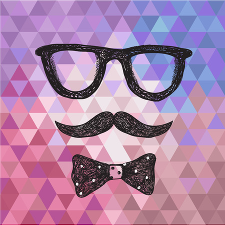 ties: Vector hipster illustration, poster, card with hand drawn glasses, moustache and bow tie. Illustration