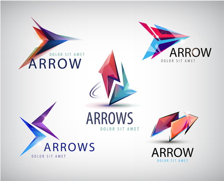 right arrow: Vector set of 3d colorful arrow logos, icons isolated