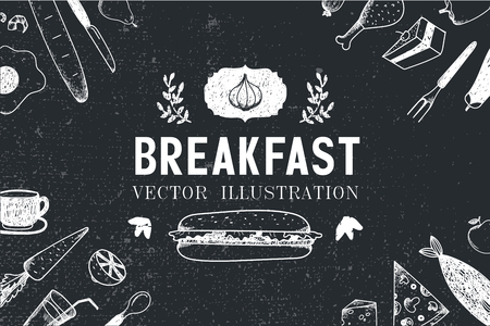 Vector breakfast, food hand drawn illustration, banner, menu cover, poster. Black and white Фото со стока - 49787355