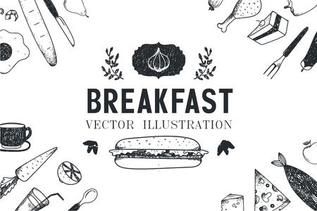 ilustracion: desayuno vector, alimentos ilustración dibujados a mano, la bandera, la cubierta del menú, cartel. En blanco y negro Vectores