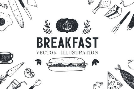 food illustration: Vector breakfast, food hand drawn illustration, banner, menu cover, poster. Black and white Illustration
