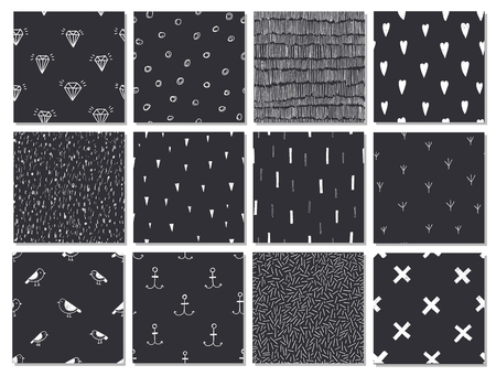 balck: Vector set of hand drawn chalkboard seamless cute abstract patterns, backgrounds.