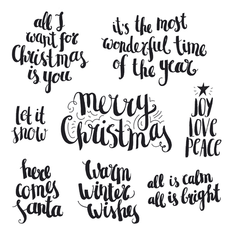 white winter: Vector set of ink hand drawn Christmas and winter lettering, quotes isolated. Black and white