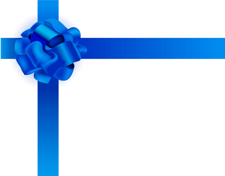 Vector realistic illustration. Blue ribbon bow, present packaging. Space for text. Illustration
