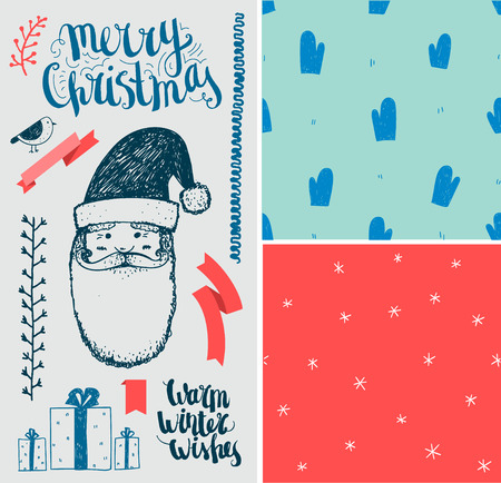 winter holiday: Vector Christmas, New Year set. Hand drawn winter holiday elements, seamless patterns, lettering. Isolated, easy editing Illustration