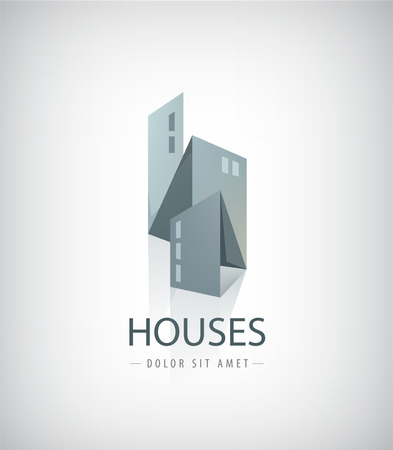 city buildings: Vector 3d ribbon houses, city logo isolated, grey color