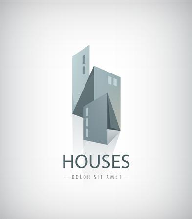 construccion: Vector de casas cinta 3d, logotipo de la ciudad aislada, color gris