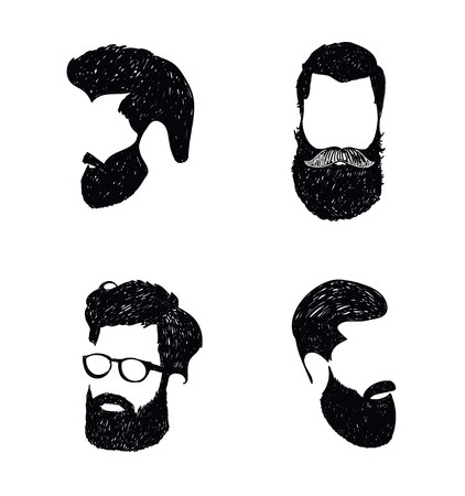 black head and moustache: Hipster hair and beards, fashion vector illustration set. Hand drawn barber shop logo, icon isolated
