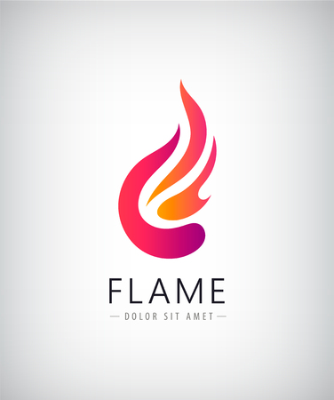 Vector abstract colorful flame, fire logo, icon. Creative idea for company identity