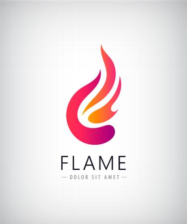 ave fenix: Vector resumen llama colorido, logotipo fuego, icono. Idea creativa de identidad de la compañía Vectores