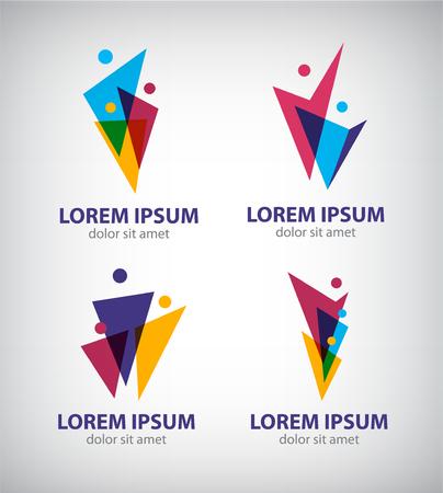 Set of vector men, human logos, icons. people logos Illustration