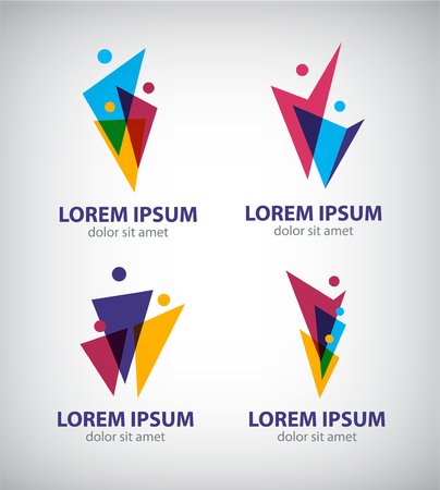 Set of vector men, human logos, icons. people logos Illustration