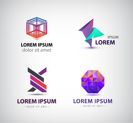 network logo: Vector set of abstract logos, icons isolated. Crystal, geometric cube, origami shapes Illustration