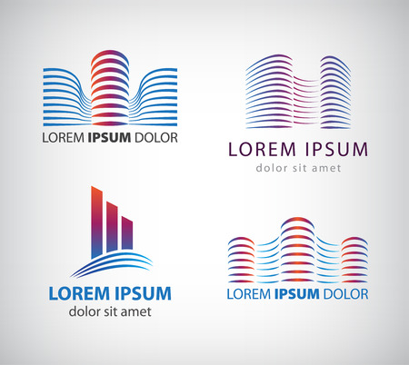 apartment building: Set of vector line building logos, icons. Company, office, property identity Illustration