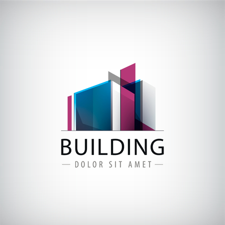벡터 추상 건물 화려한 로고, 고립 된 아이콘입니다. 투명 기하학적 구조 기호