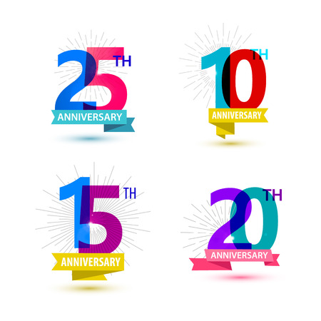 Vector set of anniversary numbers design. 25, 10, 15, 20 icons, compositions with ribbons. Colorful, transparent with shadows on white background isolated