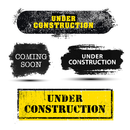 site backgrounds: Vector set of grunge textured Under Construction and Coming Soon banners, frames, backgrounds for web site. Black, white, yellow colors. Isolated