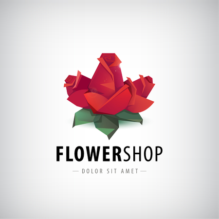 Vector faceted roses, flowers logo, icon isolated. Flower shop identity Logo