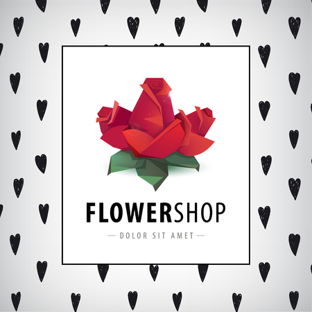 ten years jubilee: Vector faceted roses, flowers logo, icon isolated. Flower shop identity, card, poster with hand drawn hearts background and frame Illustration