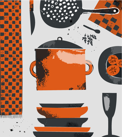 Kitchen vector illustration. Hand drawn cooking composition tools, up view.