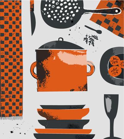 ustensiles de cuisine: vecteur cuisine illustration. Hand drawn outils de composition de cuisson, jusqu'à la vue. Illustration