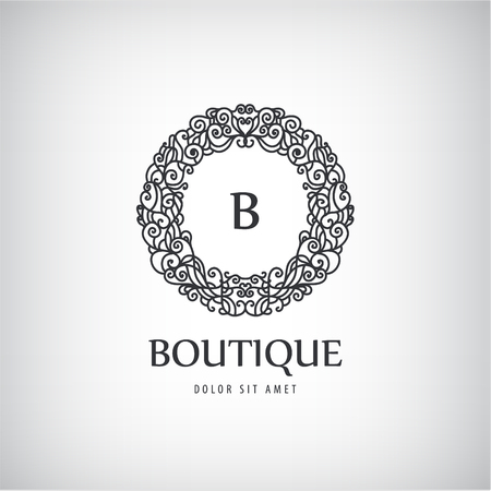 Vector Luxury Vintage logo, icon. Business sign, identity for Restaurant, Royalty, Boutique, Hotel Heraldic Jewellery Fashion Real estate Resort King tattoo, Auctions Illustration