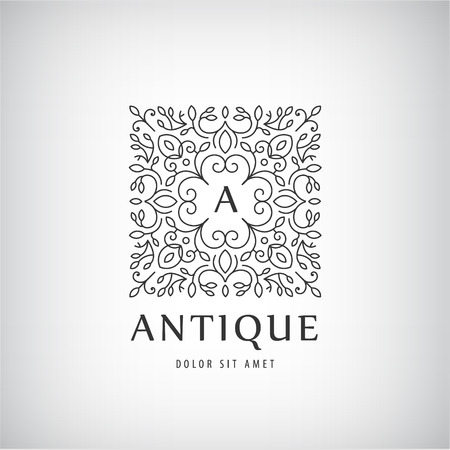 jewellery design: Vector Luxury Vintage logo, icon. Business sign, identity for Restaurant, Royalty, Boutique, Hotel Heraldic Jewellery Fashion Real estate Resort King tattoo, Auctions Illustration